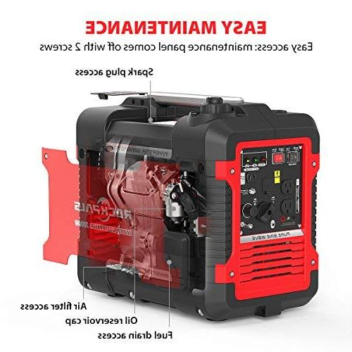 Rockpals 2000-Watt Inverter Generator, 9 Hours Time Portable Power CARB With Dual AC Outlet, 2 USB 12V DC Output